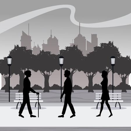boulevard: silhouette persons walk city park brench lamp postlight trees vector illustration eps 10