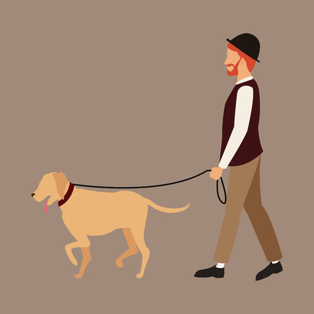 man bearded with hat walking dog pet vector illustration eps 10