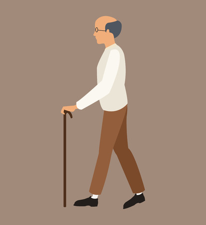 wealthy lifestyle: older man white shirt walking stick vector illustration eps 10