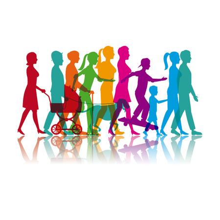 zestaw kolorowych ludzi chodzących i skate ilustracji wektorowych eps 10
