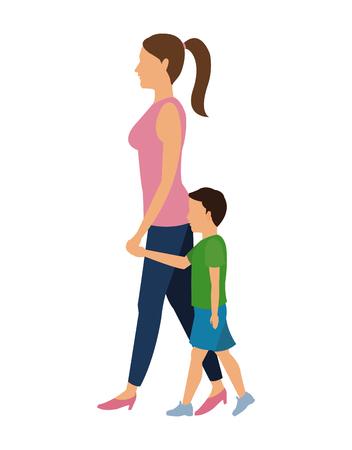 child walking: woman and child walking design vector illustration eps 10