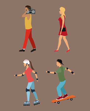 four person walking roller skating music vector illustration eps 10
