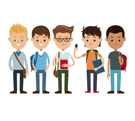 terug naar schoolvrienden jongens gelukkige vectorillustratie eps 10 Stock Illustratie