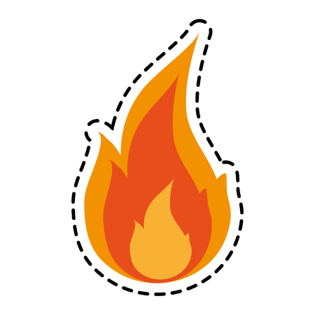 Flame icon. Fire bonfire hot burn and light theme. Isolated design. Vector illustration