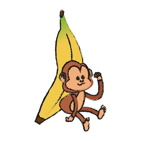 Monkey cartoon icon. Animal wildlife aple and wild theme. Isolated design. Vector illustration Illustration
