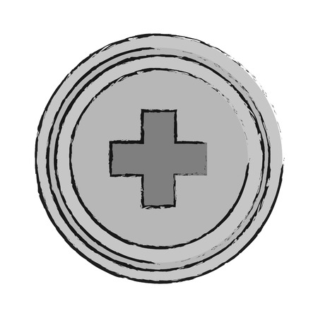 injure: Cross inside button icon. Medical health care hospital and emergency theme. Isolated design. Vector illustration Illustration