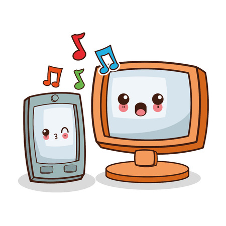 Kawaii computer and smartphone cartoon icon. Device technology and gadget theme. Isolated design. Vector illustration