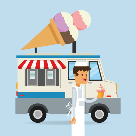 Food truck of ice cream icon. Fast food urban american and menu theme. Colorful design. Vector illustration