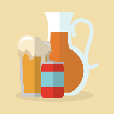 Beer and soda icon. Drink beverage bar pub and alcohol theme. Colorful design. Vector illustration