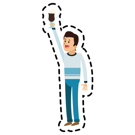 break time: Man cartoon with coffee icon. Drink breakfast beverage and restaurant theme. Isolated design. Vector illustration Illustration