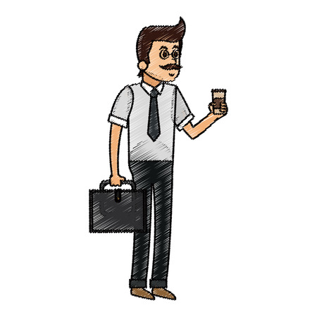 Man cartoon with coffee icon. Drink breakfast beverage and restaurant theme. Isolated design. Vector illustration Illustration