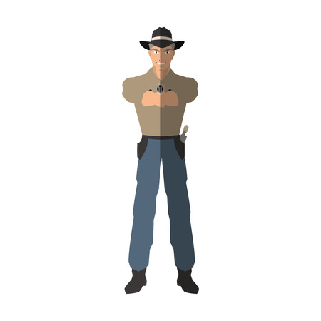 popart: Cowboy cartoon icon. Man sheriff pop art and comic theme. Isolated design. Vector illustration Illustration