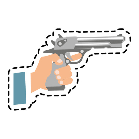 Gun icon. Pistol weapon handgun danger and firearm theme. Isolated design. Vector illustration