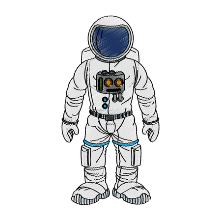 galactic: Astronaut cartoon icon. Spaceman cosmonaut pilot space and science theme. Isolated design. Vector illustration