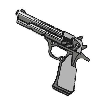 murderer: Gun icon. Pistol weapon handgun danger and firearm theme. Isolated design. Vector illustration