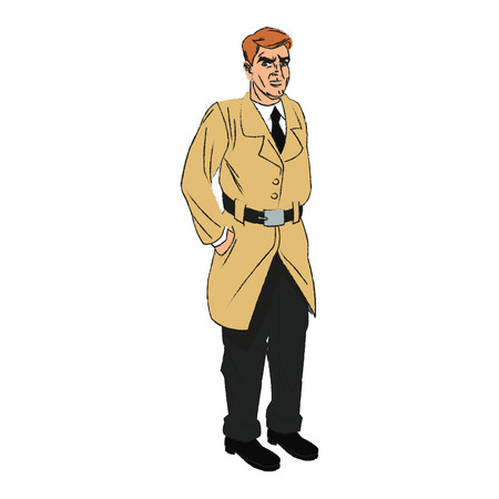 hilarious: Inspector man cartoon icon. Comic character and caricature theme. Isolated design. Vector illustration Illustration