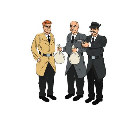 El inspector de policía y ladrón icono de dibujos animados. personaje de cómic y el tema caricatura. diseño aislado. ilustración vectorial