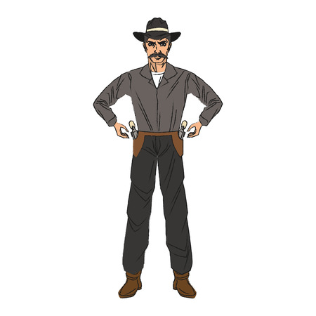 Cowboy cartoon icon. Man sheriff pop art and comic theme. Isolated design. Vector illustration Illustration
