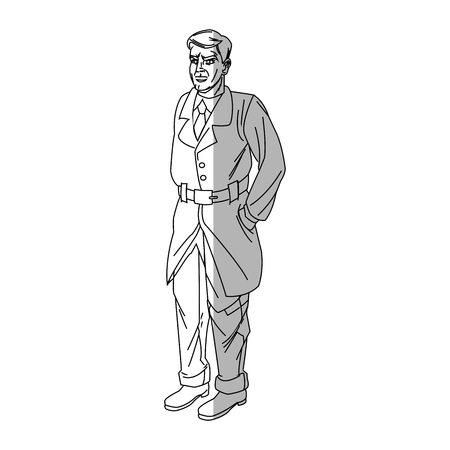 inspector: Inspector man cartoon icon. Comic character and caricature theme. Isolated design. Vector illustration Illustration