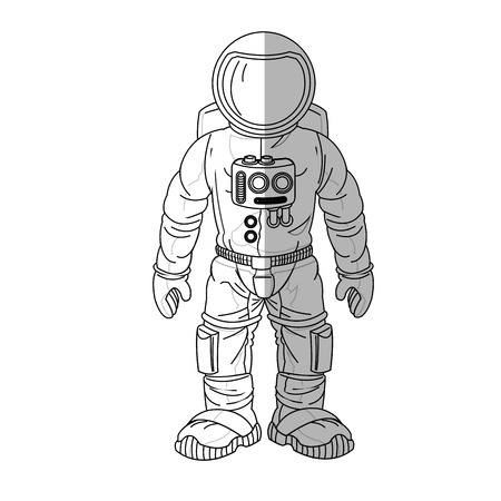 astral: Astronaut cartoon icon. Spaceman cosmonaut pilot space and science theme. Isolated design. Vector illustration