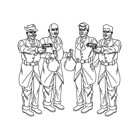 policia caricatura: El inspector de policía y ladrón icono de dibujos animados. personaje de cómic y el tema caricatura. diseño aislado. ilustración vectorial