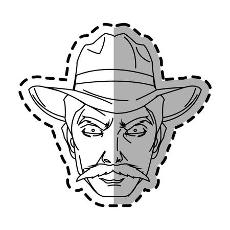 Cowboy cartoon icon. Man sheriff pop art and comic theme. Isolated design. Vector illustration Illustration