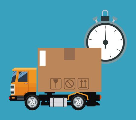 delivery concept truck transport clock time vector illustration eps 10