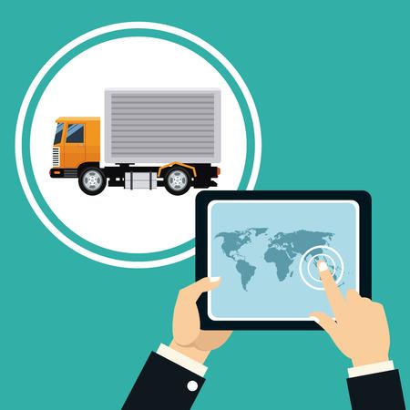 hand touch tafel kaart vrachtwagen transport levering concept vector illustratie eps 10