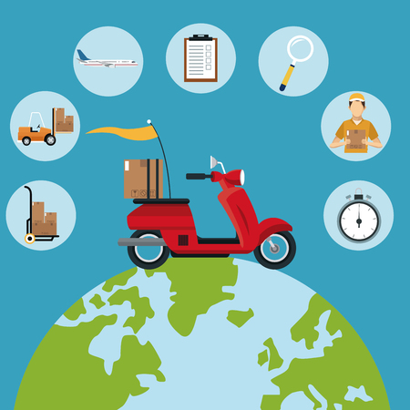 refrigerated: delivery concept red motorcycle globe set icons vector illustration eps 10