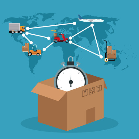 docks: cardboard box clock connection global delivery concept vector illustration eps 10