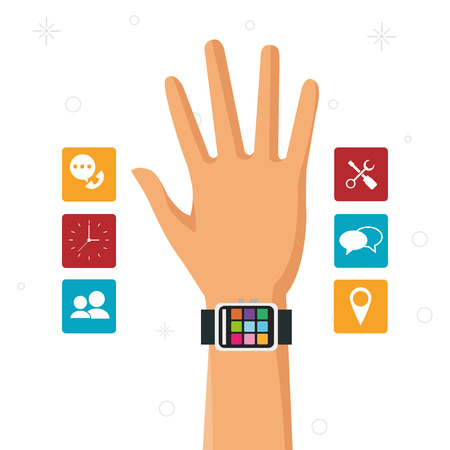 time sharing: hand with smart watch wearable technology accesorie vector illustration eps 10