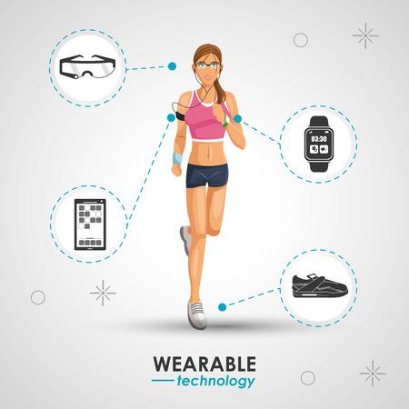 woman sport jogging wearable technology vector illustration eps 10 Illustration