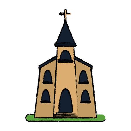 building sketch: church building religious christian sketch vector illustration eps 10 Illustration