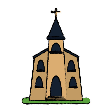 church building religious christian sketch vector illustration eps 10 Illustration