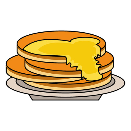 delicious pancakes maple syrup outline vector illustration eps 10