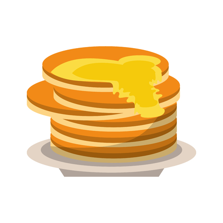 delicious pancakes maple syrup vector illustration eps 10