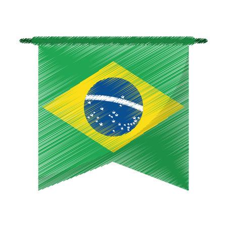 thatched: drawing brasilian flag hanging symbol vector illustration eps 10