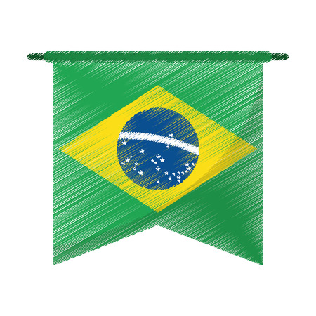 drawing brasilian flag hanging symbol vector illustration eps 10