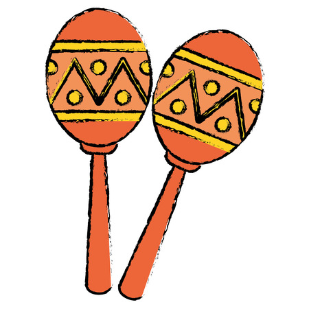 two maracas music instrument brasilian sketch vector illustration eps 10