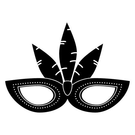brazil carnival mask feathers pictogram vector illustration eps 10 Illustration