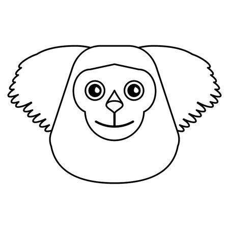 black bearded saki animal brazil outline vector illustration eps 10 Illustration