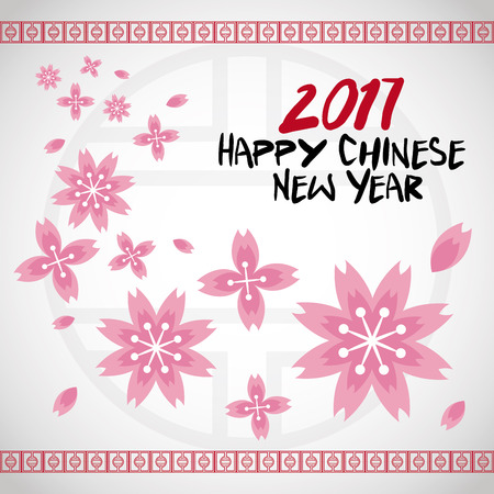 illustion: chinese new year 2017 flower traditional card vector illustion eps 10 Illustration