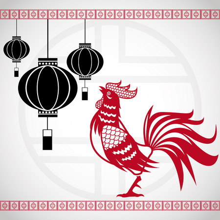 illustion: year rooster chinese calendar lanterns hanging vector illustion eps 10