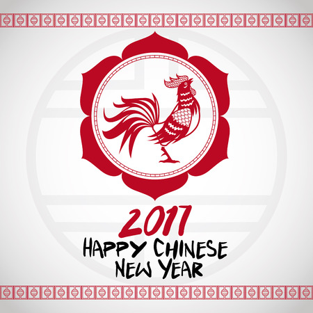 illustion: chinese new year 2017 with rooster red frame vector illustion eps 10