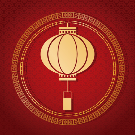 illustion: chinese new year 2017 traditional lantern golden vector illustion eps 10