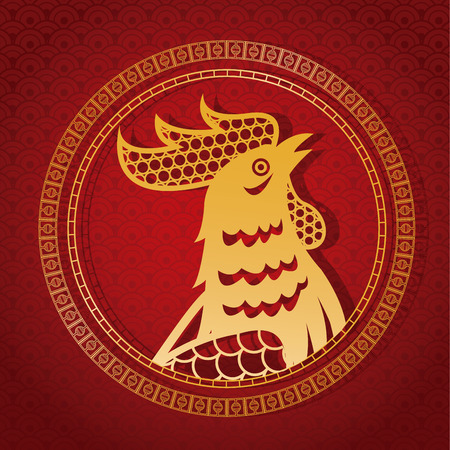 illustion: year rooster chinese calendar gold rooster and frame vector illustion eps 10 Illustration