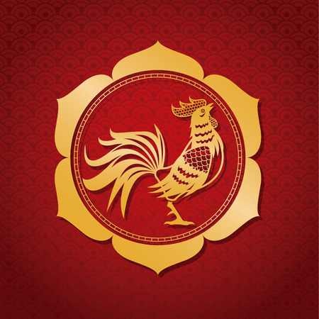 illustion: year rooster chinese calendar gold frame vector illustion eps 10