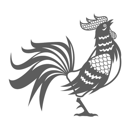 illustion: year rooster chinese calendar pictogram vector illustion eps 10