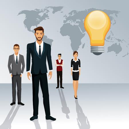 shadow people: business people teamwork world idea creative shadow vector illustration eps 10