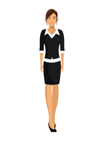 black sweater: woman with black sweater business working vector illustration eps 10 Illustration